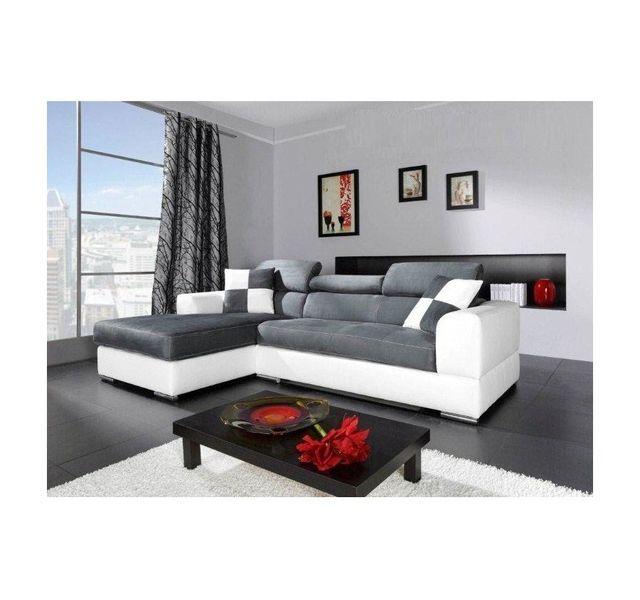 CHLOE DESIGN Canapé d'angle madrid i - cuir pu et microfibre - Angle gauche - gris et blanc