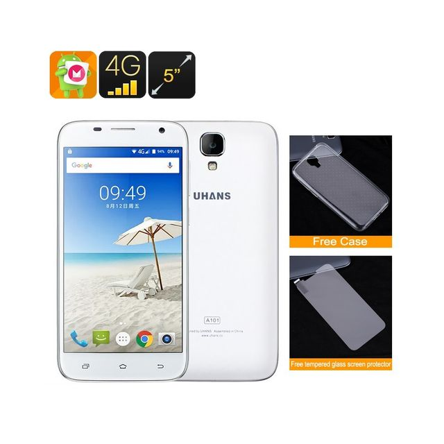 Auto-hightech Telephone Smartphone - Android 6.0, Cpu Quad-Core, 4G, Ecran Hd 5 pouces, Double Sim, Double-IMEI Blanc