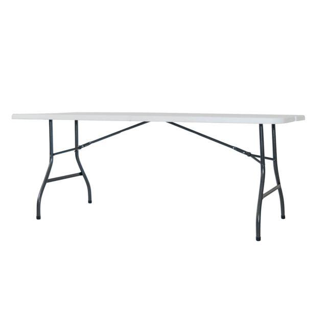 Table en résine avec structure en acier pliante type valise Oskar180