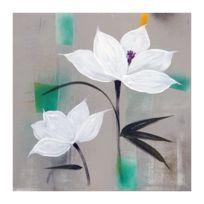 Marque Generique - Fleurs Blanches Toile peinte 70x70 cm Fond vert