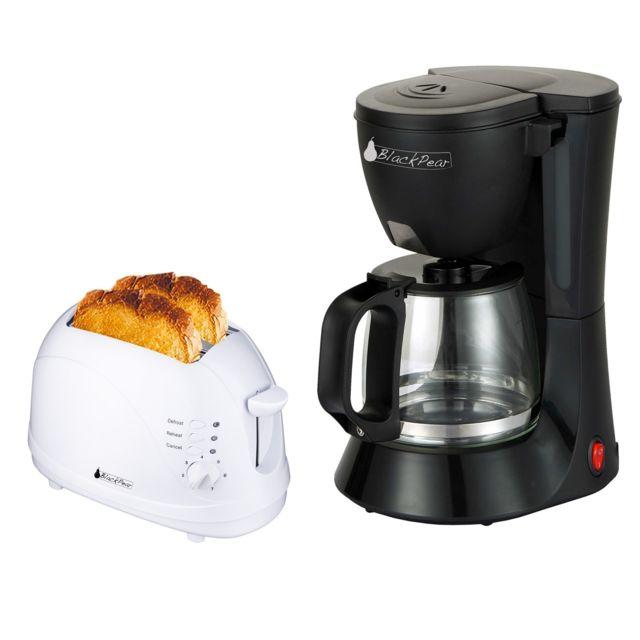 Blackpear Cafetière noir 12 tasses 680W + Grille pain 2 fentes blanc 700W fonction décongélation