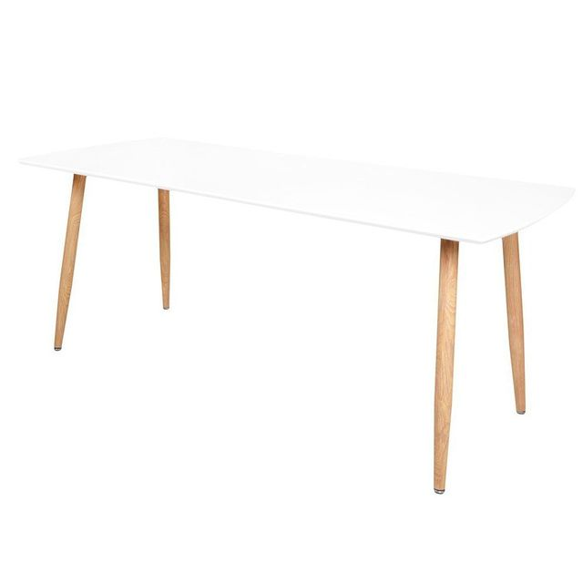 Inside 75 Table repas extensible design scandinave Rio 140 80 cm blanche de 6 à 10 couverts