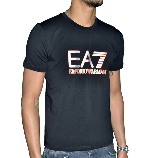 6b5302d8664 Armani - Ea7 Emporio - Tee Shirt Mc - Homme - Train 04 - Noir Orange ...