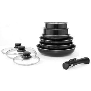 marc veyrat batterie de cuisine 10 pi ces noire avec couvercles induction poign e amovible. Black Bedroom Furniture Sets. Home Design Ideas