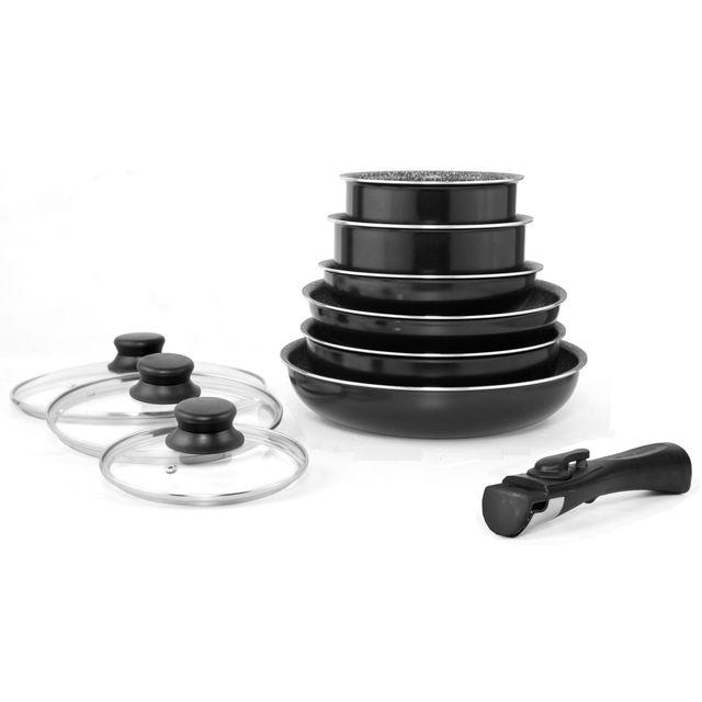MARC VEYRAT - Batterie de cuisine 10 piéces noire avec couvercles- Induction-Poignée amovible