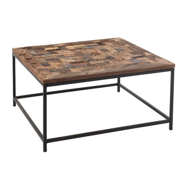 Table Basse Carree En Bois Brut Metal Bouty