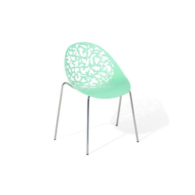 Beliani Chaise De Salle A Manger Verte Design En Plastique