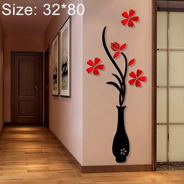 Sticker mural Vase 3D Acrylique Stéréo Stickers Muraux Fond Tv Mur Couloir  Décoration de La Maison, Taille: 32 80cm Ach-734032