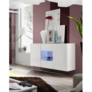 dusine bahut buffet commode suspendu design laqu avec leds blanc pas cher achat vente. Black Bedroom Furniture Sets. Home Design Ideas