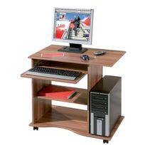 Comforium - Bureau informatique à roulette en bois coloris noyer