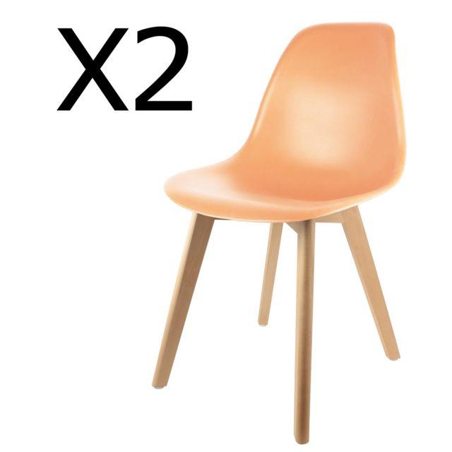 Dim PEGANE Lot de 2 chaises en polypropyl/ène avec Coussin Coloris Taupe H 82.5 x L 48.1 x P 51 cm