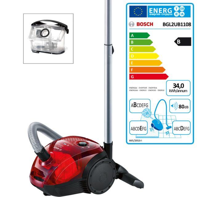 Bosch aspirateur avec ou sans sac bdeb 80db rouge - bgl2ub1108