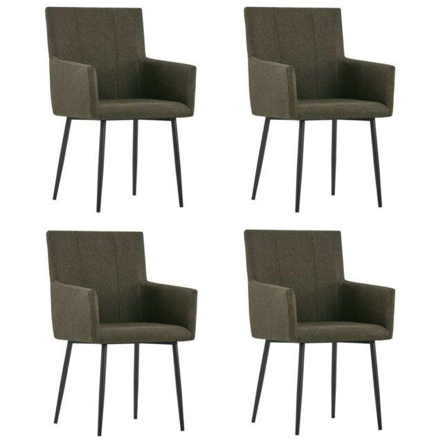 Chaises de salle à manger avec accoudoirs 4 pcs Marron Tissu