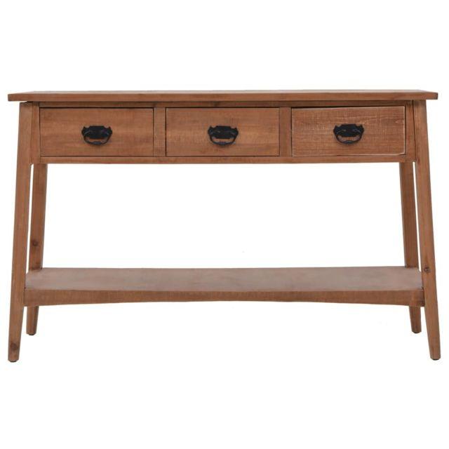 ICAVERNE Bouts de canapé categorie Table console bois de sapin massif 126 x 40 x 77,5 cm Marron