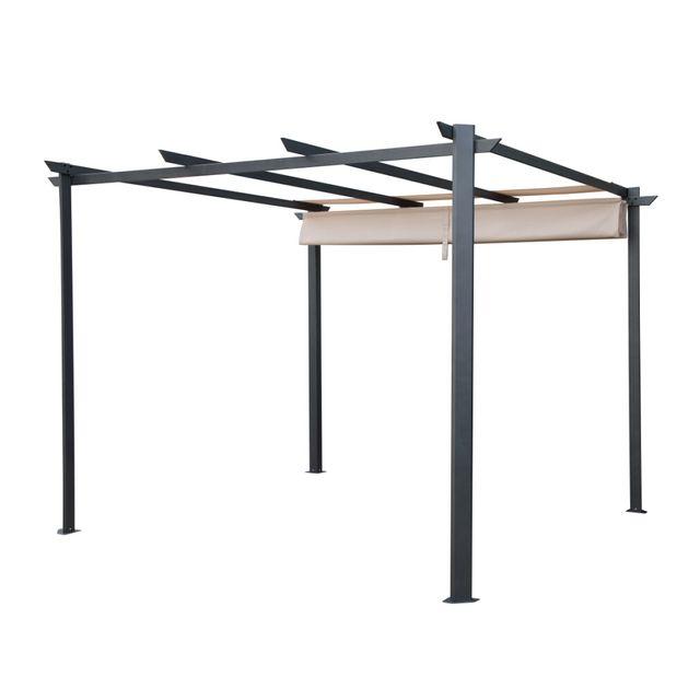 carrefour elda tonnelle toit r tractable sable. Black Bedroom Furniture Sets. Home Design Ideas