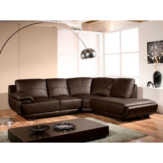 la maison du canap canap cuir angle mozart droit marron achat vente canap s pas chers. Black Bedroom Furniture Sets. Home Design Ideas