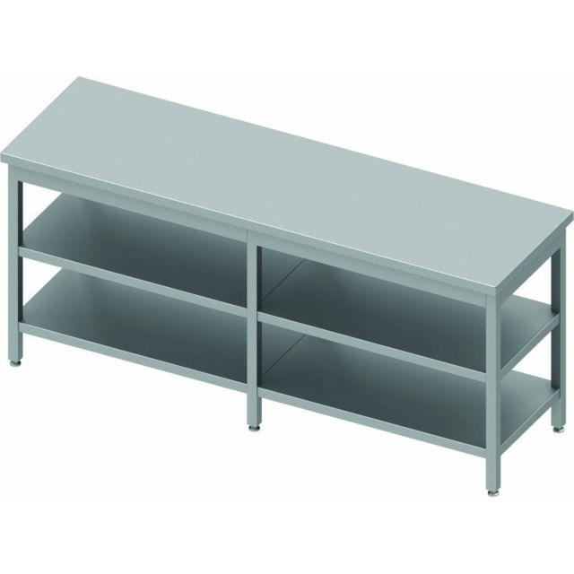 Materiel Chr Pro Table Inox Professionnelle Sans Dosseret - Avec 2 Etagères - Profondeur 600 - Stalgast - inox 2000x600 600