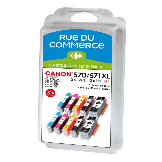 RUE DU COMMERCE Pack de 10 cartouches compatibles Canon PGI 570XL / CLI 571XL BK/C/M/Y/PHBK