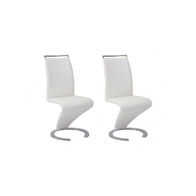 Lot de 2 chaises TWIZY Simili Blanc