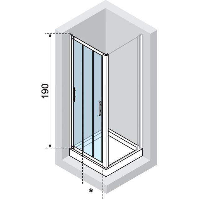 Novellini - Porte Coulissante 3 Panneaux Transparent Lunesp114-1D