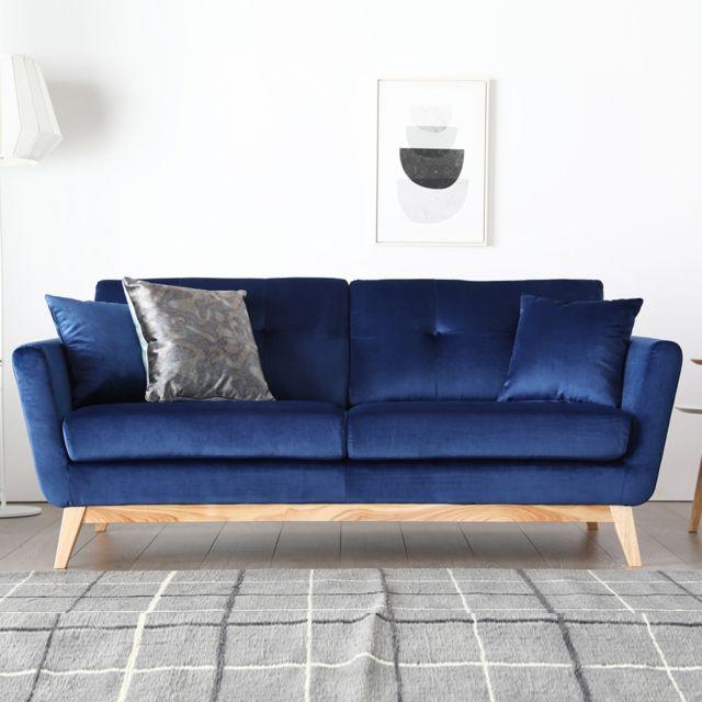 Concept Usine Höga Velours Bleu : Canapé scandinave 3 places velours bleu + 2 coussins