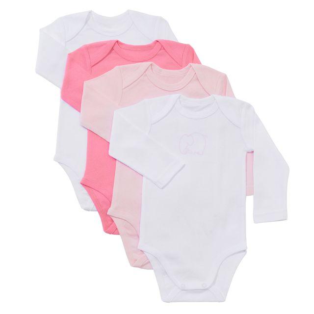 MARQUE GENERIQUE - Lot de 4 bodies bébé WILD en coton manches longues 31a04d9040f