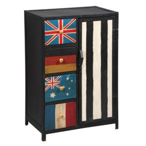 meuble de rangement 1 porte 4 tiroirs en acier atelier metal pas cher achat vente commode. Black Bedroom Furniture Sets. Home Design Ideas