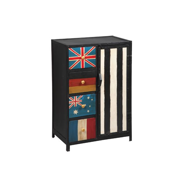 meuble de rangement 1 porte 4 tiroirs en acier atelier metal sebpeche31. Black Bedroom Furniture Sets. Home Design Ideas