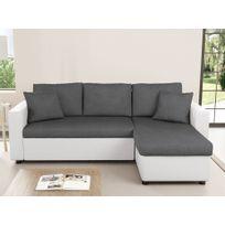 Canapé d'Angle MARIA Réversible et Convertible avec Coffre Gris / Blanc
