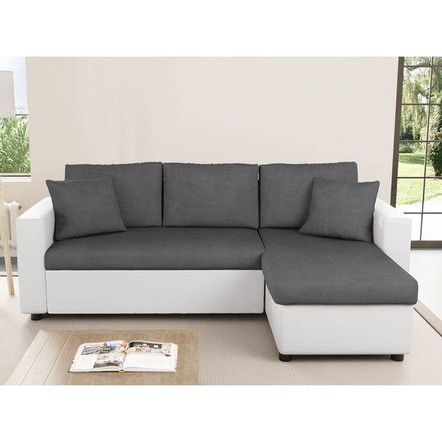 USINESTREET Canapé d'Angle Réversible et Convertible avec Coffre Gris / Blanc MARIA