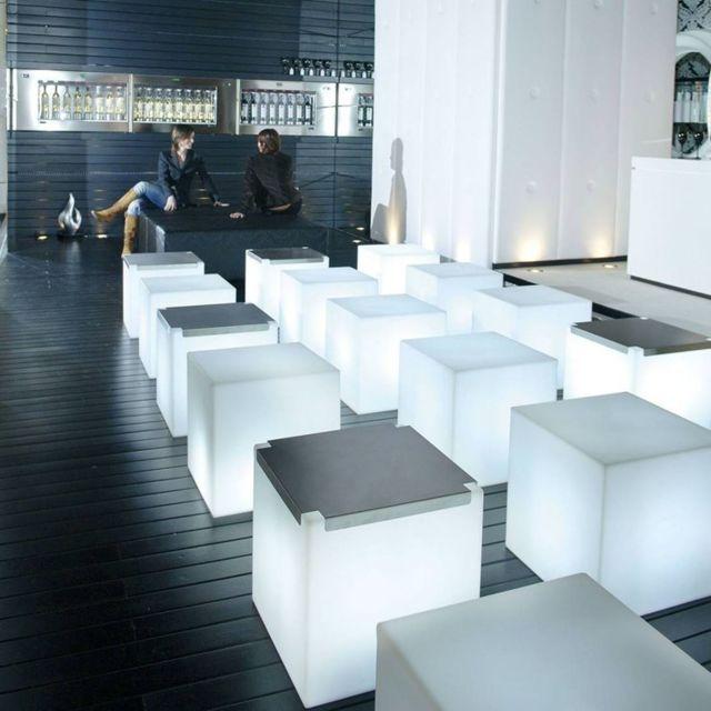 Cubo Cube Lumineux Dextérieur H43cm Blanc
