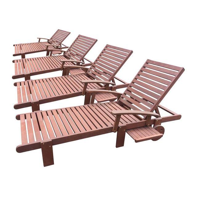 Habitat et jardin bain de soleil pliant en bois exotique tokyo mohogany marron acajou lot de 4 nc pas cher achat vente transats chaises longues