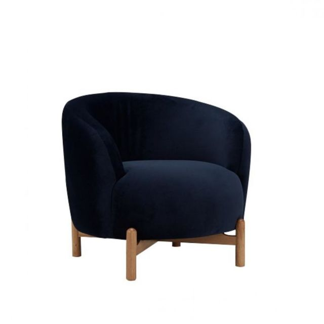 Inside 75 Fauteuil Groll velours bleu piètement bois clair
