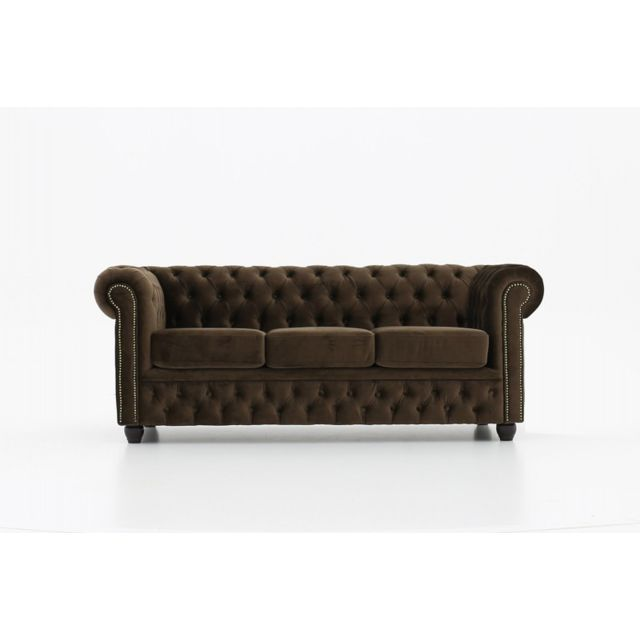 CHESTERFIELD Canapé 3 places en tissu Velours Brun