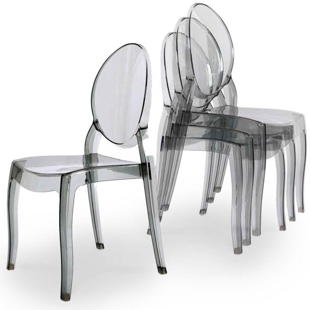 La Chaiserie Lot de 4 chaises design transparentes gris plexi Iris