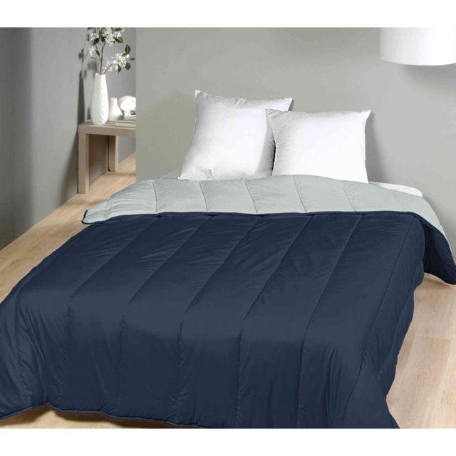 terre de nuit couette bicolore bleu marine gris tr s chaude 750g 240x220 pas cher achat. Black Bedroom Furniture Sets. Home Design Ideas