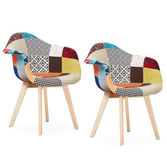 Home Design International Lot De 2 Chaises Patchwork Avec