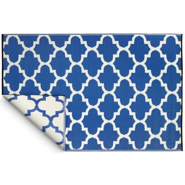 FABHABITAT - Tapis intérieur extérieur Tangier bleu et blanc 180 x 120 cm