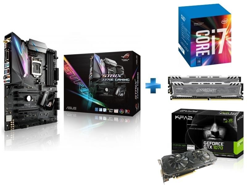 Carte mère STRIX Z270E GAMING Socket 1151 - Chipset Z270 Kabylake + Processeur Intel Core i7-7700K 4.20GHz LGA1151 - KABYLAKE + Ballistix Sport LT 16 Go 2 x 8 Go DDR4 - 2400 Mhz - CAS 16 + GeForce GTX 1070 EXOC-SNIPER 8 Go DDR5