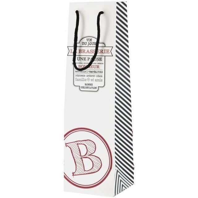 Promobo Sac Cadeau Bouteille Déco Brasserie Design Bistrot Logo B Blanc