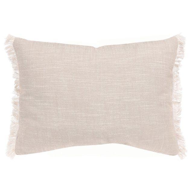 Winkler - Coussin déhoussable uni 100% coton tissage chambray franges Jet - Ficelle - 30x50cm 0cm x 0cm