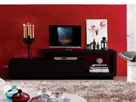 VENTE-UNIQUE - Meuble TV ARTABAN - 2 tiroirs - MDF laqué - Noir ...