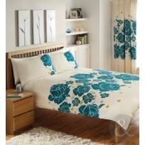 Just Contempo - Parure De Lit En Coton MÉLANGÉ Motif Floral Chic, King Size Duvet Cover Kingsize Shabby Chic Bleu Sarcelle B