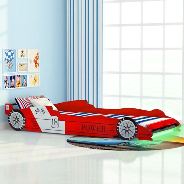 Uco Lit voiture de course pour enfants avec Led 90 x 200 cm Rouge