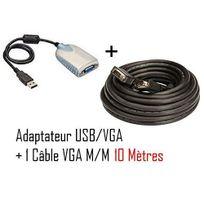 Cabling - Adaptateur Vidéo Carte Graphique Externe Usb 3.0 Usb 2.0 vers Vga Câble Convertisseur 1x Db15 Femelle 1x Usb A Mâle jusqu'à 2048x1152 + Cordon Vga M/M 10M