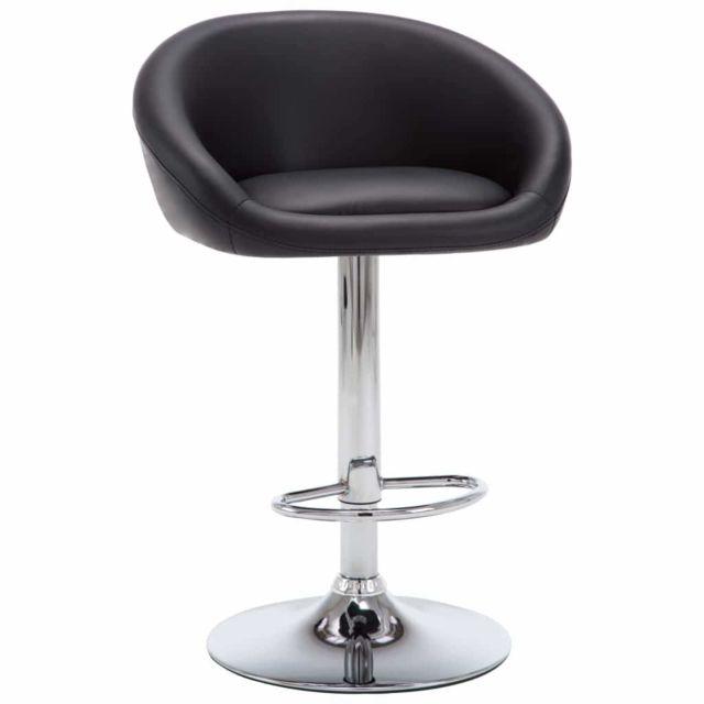 Lot de deux tabourets de bar design chaise siège similicuir noir 1202113