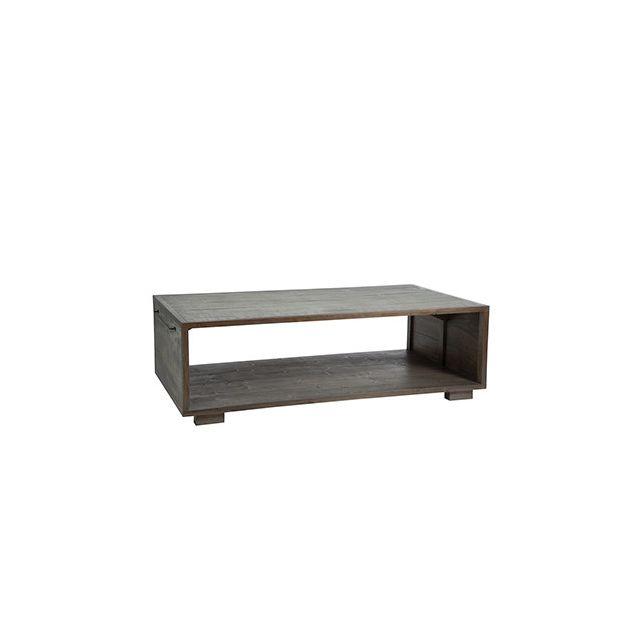 Table basse 145x80x35cm en bois naturel et gris