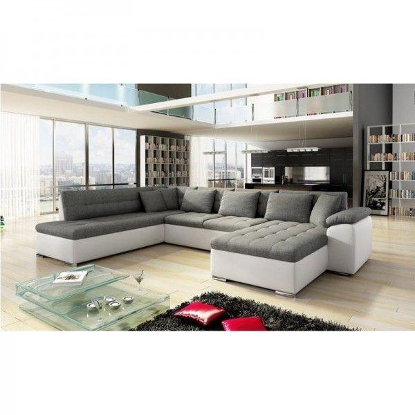 meublesline canap d 39 angle en u alia gris et blanc achat. Black Bedroom Furniture Sets. Home Design Ideas