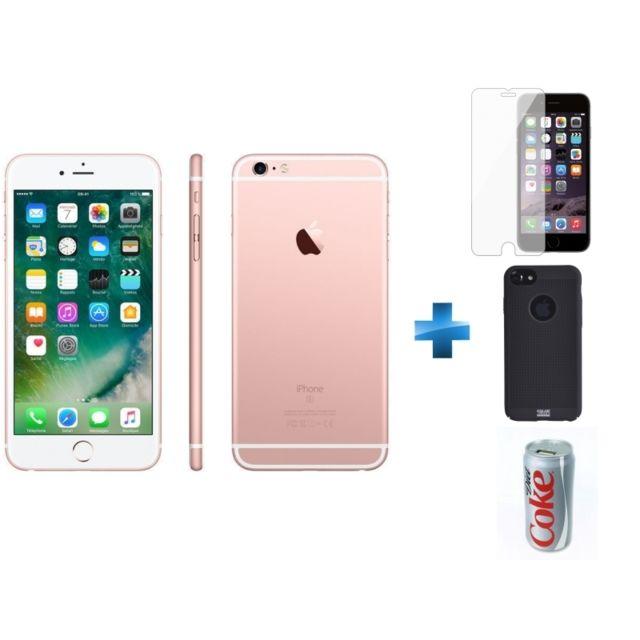 APPLE - iPhone 6S - 64 Go - Or Rose - Reconditionné + Verre trempe iPhone 6/6s/7/8 - Transparent + iPhone 6/6s Perf metal case - Noir + Batterie de secours Coca-Cola Light 7200 mAh