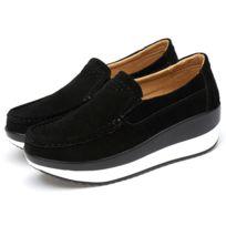 grossiste 9960d 84cea Femmes d'été Slip On Mocassins Suede Shoes Wedge Casual véritable  Chaussures de plate-forme en cuir